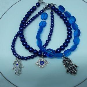 Blue Glass Hamsa & Evil Eye Bracelet Set